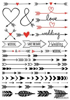 Buy Hand-drawn Wedding Arrows Set by amourfou on GraphicRiver. Hand-drawn wedding arrows, set of vector design elements AI EPS 8 and high resolution JPG pixel included Arrow Svg, Arrow Font, Bullet Journal Inspiration, Moleskine, Vector Design, Type Design, Design Design, Graphic Design, Logo Design
