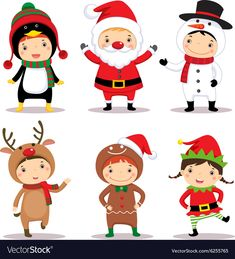 Cute kids wearing Christmas costumes vector image on VectorStock Large Christmas Baubles, Christmas Scenes, Christmas Hacks, Christmas Activities, Christmas Crafts, Christmas Decorations, Vector Christmas, Circus Crafts, Rena