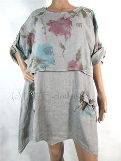 NEW Womens Italian LINEN Lagenlook Pocket DRESS & Floral SHRUG Set
