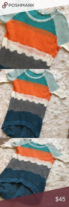 "• Anthropologie • Knit Top Colorful knit anthropologie high-low top. 26"" to front. 31"" to the back Anthropologie Tops"