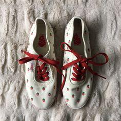 8934c7f5079 Vans Shoes | Nwot Rare Vans Cedar With Embroidered Strawberries | Color:  Cream/Red