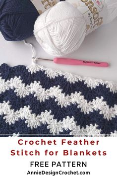 Crochet Feather Stitch Blanket The stitch pattern reminds me of the sea waves, and the easy crochet pattern is very Crochet Feather, Feather Stitch, Crochet Stitches Patterns, Crochet Designs, Easy Crochet Blanket Patterns, Chevron Crochet Patterns, Crochet Blanket Tutorial, Stitching Patterns, Knit Stitches