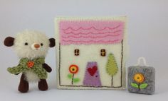 Finn, the teddy bear with his suitcase and the box house. by plushimoto@etsy