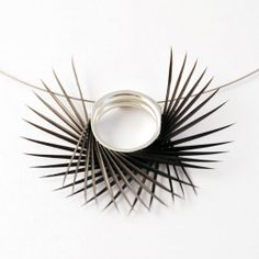 Black Spiky Double U Pendant Double U, Jewelery, Jewelry Necklaces, Stainless Steel Cable, Cable Tie, Body Adornment, Neck Piece, Contemporary Jewellery, Metal Jewelry