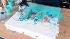 Splitcolor acrylic pour painting Tutorial soft turqouise split color fluid painting by rinske douna Flow Painting, Pour Painting, Diy Painting, Pottery Painting, Acrylic Pouring Art, Acrylic Art, Acrylic Colors, Diy Canvas Art, Large Canvas Art