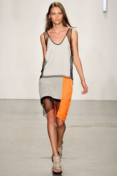 A hint of athleticism in this slashed, colorblocked look from #helmutlang #nyfw #spring2013