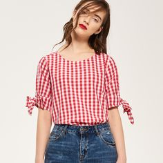 Blouse Simple, Road Trip Outfit, Diy Tops, Gingham, Blouses, Couture, Outfits, Crop Tops, Stylish