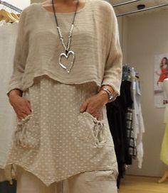 Two piece Lagenlook Boho-style tunic top