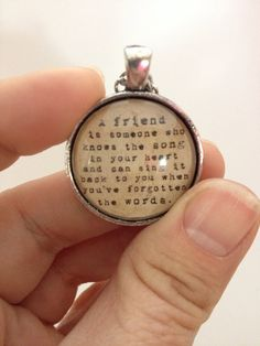 Friendship quote necklace vintage silver. Makes a great gift.