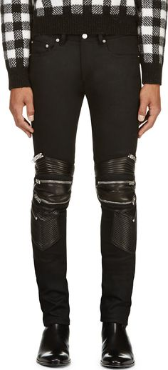 Saint Laurent: Black Leather- & Zip-Trimmed Biker Jeans