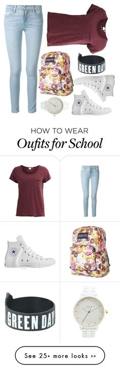 """# back to school"" by acreation on Polyvore featuring Converse, Frame Denim, Object Collectors Item, JanSport and Nixon"