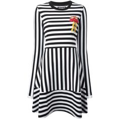 House Of Holland 'Breton' dress (9.335 CZK) ❤ liked on Polyvore featuring dresses, black, house of holland, breton dress, house of holland dress and breton stripe dress