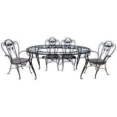 Salterini wrought iron patio set, table, 4 chairs, grape