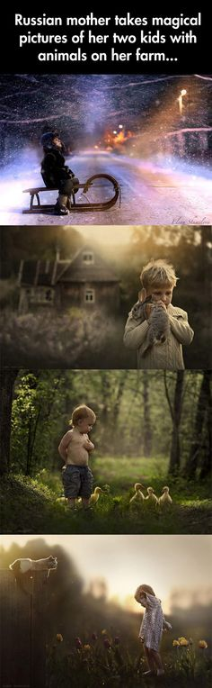 Russian mother takes magical pictures of her two kids with animals on her farm.