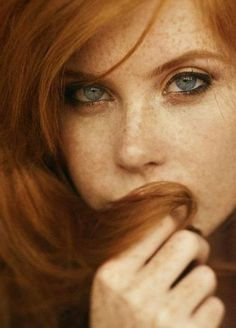Beautiful red hair and face.