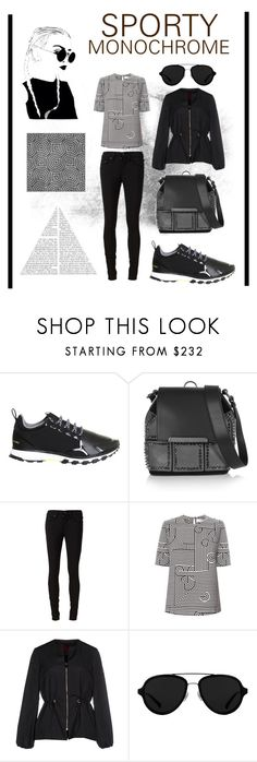 """""""SPORTY MONOCHROME"""" by jocelyn-leonard ❤ liked on Polyvore featuring adidas, Christian Louboutin, rag & bone/JEAN, Victoria, Victoria Beckham, Moncler Gamme Rouge, 3.1 Phillip Lim, monochrome, prints, blackandwhite and sporty"""