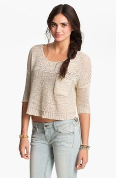 Painted Threads Crop Pocket Sweater (Juniors) available at Nordstrom  i like it in ivory and black  also love the jeans!!