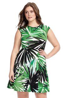 London Times | Textured Dress In Jungle Palm Print | Gwynnie Bee