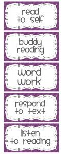 "Daily Five Labels - this set works for me since it uses ""respond to text"" rather than ""work on writing"".  I don't use the writing since we do writing workshop."