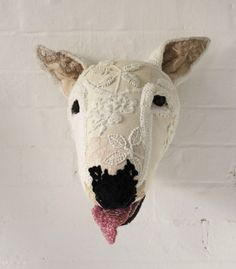 Embroidered English Bull Terrier faux taxidermy