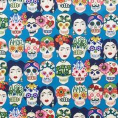 LAMINATED cotton fabric - Gotas de Amor Blue Royal Skull Day of the Dead by the yard (aka oilcloth coated vinyl fabric ) - Alexander Henry Laminated Cotton Fabric, Printed Cotton, Rockabilly, Stoff Online Shop, Mexican Fabric, Pattern Texture, Skull Fabric, Alexander Henry Fabrics, Art Mat