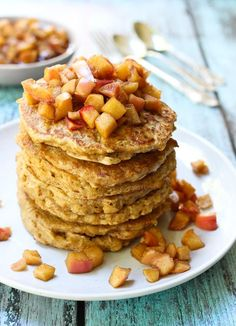 Healthy Oatmeal Pancakes made from scratch using whole grain oats and served with a delicious apple topping. Just as healthy as your apple cinnamon oatmeal.