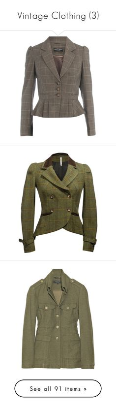 """""""Vintage Clothing (3)"""" by o-hugsandkisses-x ❤ liked on Polyvore featuring outerwear, jackets, blazer, saco, tailored, women, beige blazer, pleated jacket, dorothy perkins and checked blazer"""