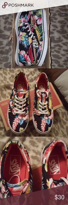 Women's Aloha Vans Size 6.5 Like brand new in original box not worn more than once to be honest ,basically put them on and I was not thrilled with how it looked on me I'm a straight Nike girl haha enjoy! Vans Shoes