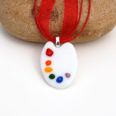 Fused Glass Artist's Palette Pendant.