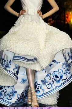 Designed by Christian Dior    Isn't it usually frilly on the inside, patterned on the outside?