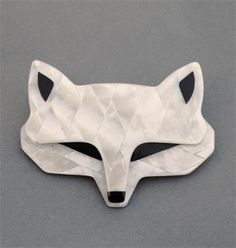 """LEA STEIN FOX HEAD BROOCH  This pearly white fox has black eyes, measures 2.75"""" across and has the 'V' shaped signed pin."""