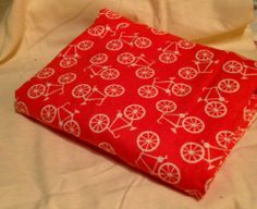 Bicycles on Orange Receiving Blanket Swaddling Blanket Double sided | bitspeaces - Children's on ArtFire