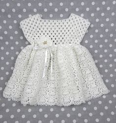 crochet newborn girl white dress Amelia
