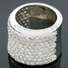 14K White Solid Gold Mens Diamond Ring 8.47 Ctw