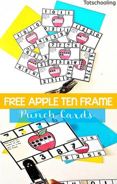 FREE counting and number recognition activity with an apple theme, using hole punchers! Perfect for Fall or Back to School. Kids will love using hole punchers in this fun math activity!
