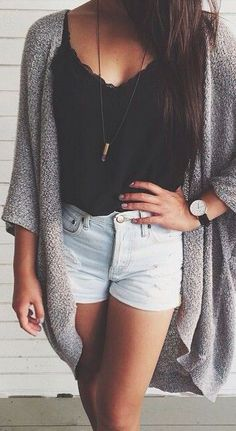 Summer clothes; high waisted shorts, black tank top, & loose cardigan #summerclothes