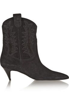Saint Laurent Cat Ankle Boots aus Veloursleder mit Applikationen | NET-A-PORTER