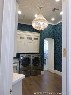 laundry room design, turquoise patterned wallpaper, street of dreams az, caitlin wilson design