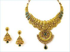 22kt Gold Bridal Necklace Set - Antique finish with tourmaline and enamel workmanship.  Threaded back chain to fit all neck sizes.