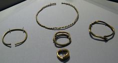 Hoard Containing Three Bracelets, A Folded Rod,and a Ring  Coppeen, Co. Cork  1200-1000 BC — at National Museum of Ireland - Archaeology.