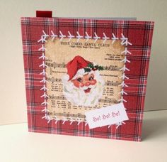 Christmas Card Pk of Five,'Vintage Stitches'Handmade Xmas Cards