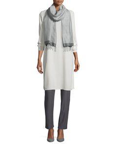 -6QE2 Eileen Fisher  Silk Georgette Crepe Tunic Silk Jersey Long Slim Camisole Washable-Crepe Straight-Leg Pants, Ash