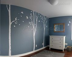 Tree Wall Decals Birch Trees Decal Nursery by PopDecorsPrintArts