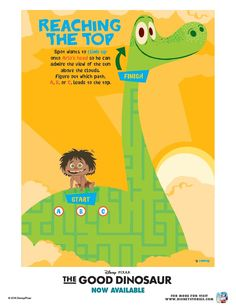 Disney The Good Dinosaur Reaching The Top Maze Dinosaur Printables, Dinosaur Activities, The Good Dinosaur, Above The Clouds, Activity Sheets, Free Printable Coloring Pages, Maze, Disney Pixar, Puppets