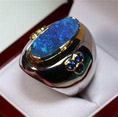 Gondwanaland Opals Solid Black Opal Men's Ring