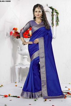 2cb35e21923ca3 Pamper the women in you with this appealing blue art silk designer  traditional saree. The ethnic patch border work in the attire adds a sign  of ...