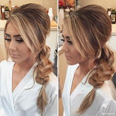 French Braided Low Ponytail with Volume at the Crown