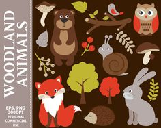 70% OFF SALE Woodland Animals Clip Art - Fox, Owl, Hedgehog, Bear, Rabbit, Forest, Woodland Clipart #thecreativemill