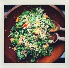 Roasted Sweet Potato, Quinoa and Arugula Salad (leave out cinnamon - use olive oil in place of coconut oil)