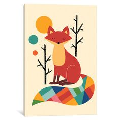 "Viv + Rae Rainbow Fox Canvas Art Size: 40"" H x 26"" W x 0.75"" D"